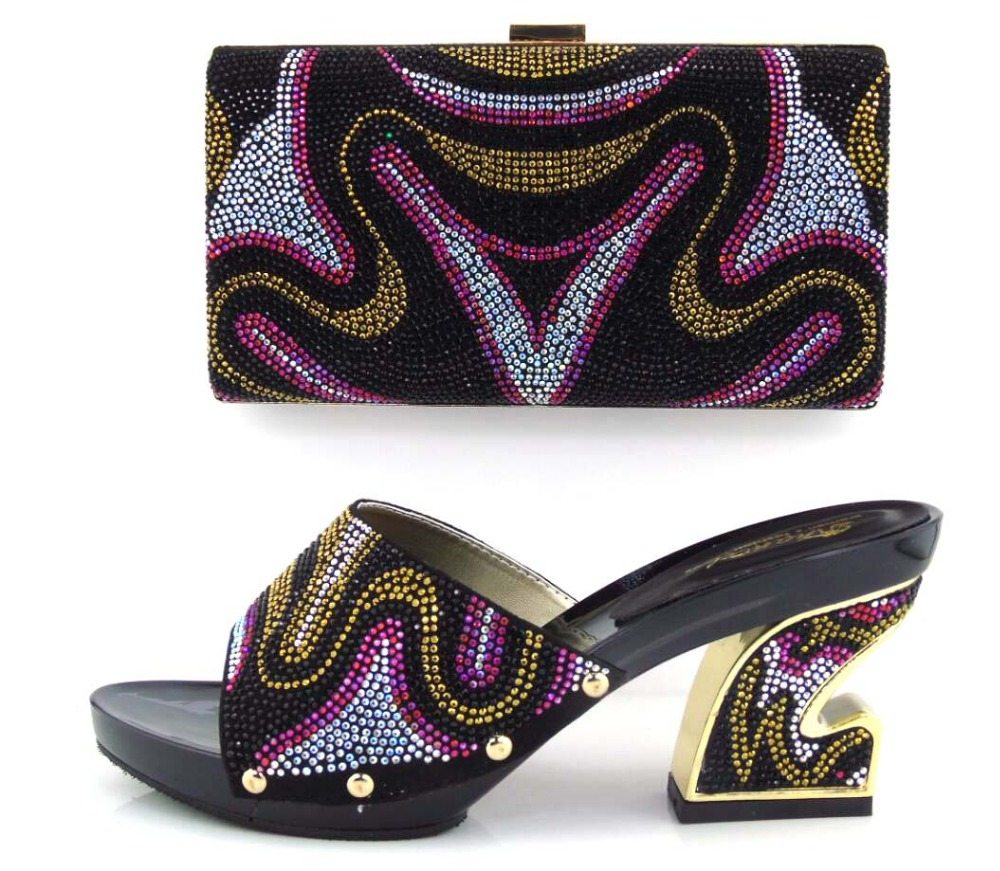ФОТО Latest African Shoes And Bag Set Lovely Sandals Women Heels Matching Purse For Wedding!!HUA1-1