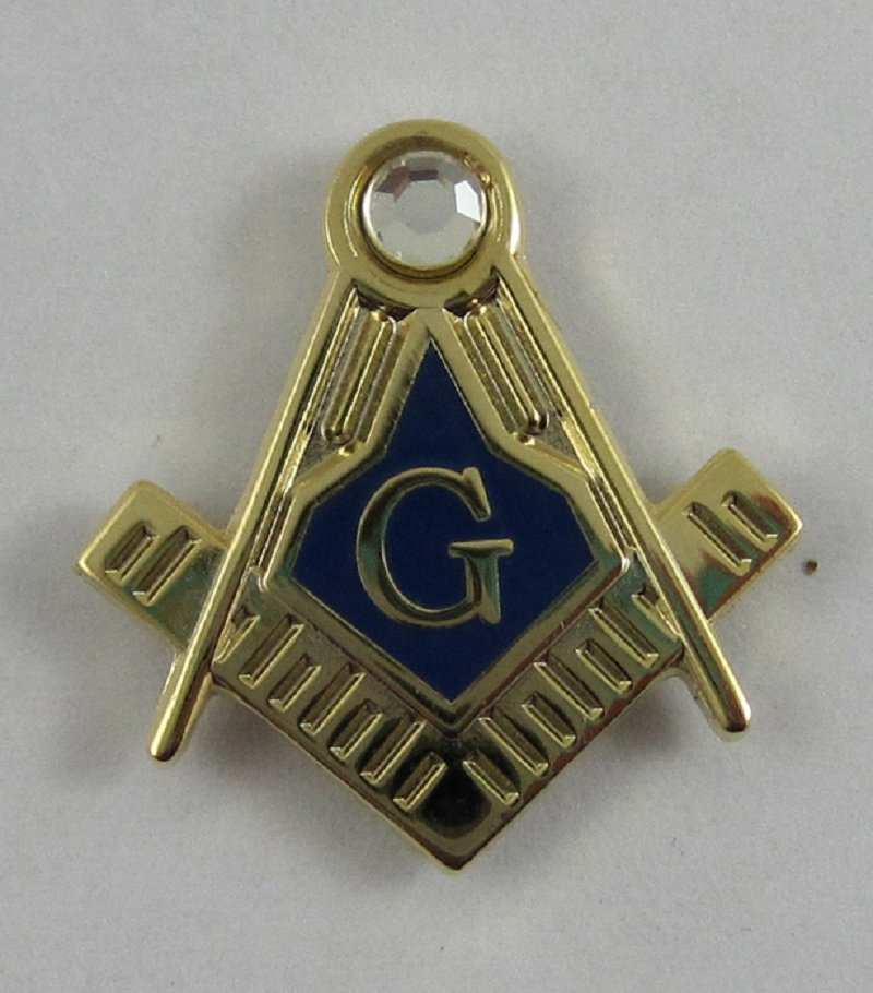 Wholesale Custom Pins Masonic Freemason 19mm Lapel Pin Blue Lodge, gift, brass material rhinestone lapel pin