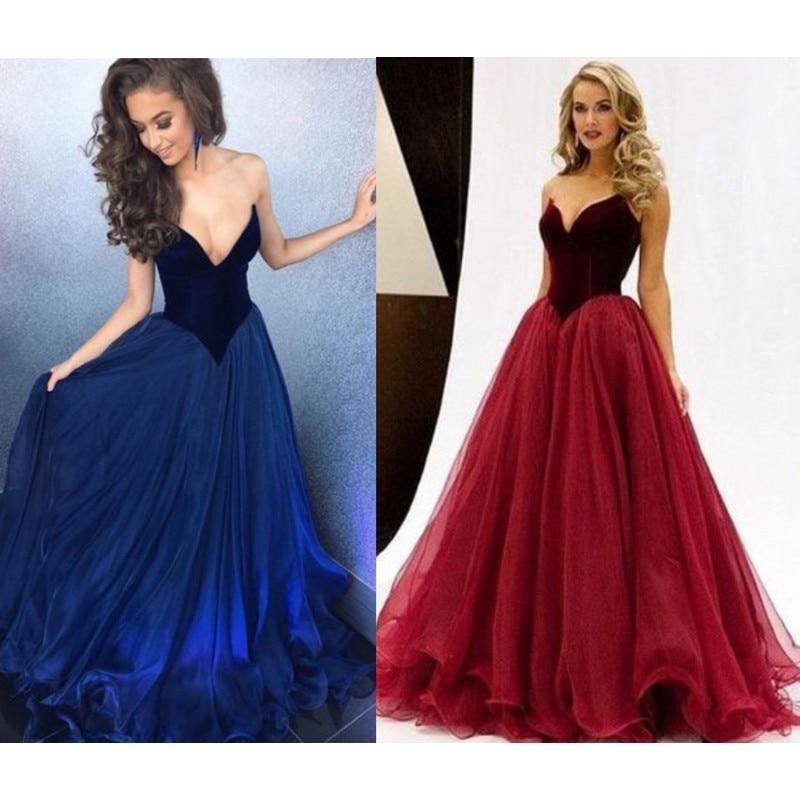 2017 Wine Red Velvet Prom Dresses Long Cheap A Line -2745