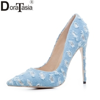 DoraTasia Brand Design Blue Denim Fashion Big Size 33 43 Pointed Toe Woman Shoes Sexy High
