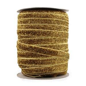 """Image 5 - Perakende 15 renkler 1 adet = 50 metre 3/8 """"Elastik Glitter kadife kurdele Süsler Metalik Elastik Bant Çocuklar Kızlar için saç aksesuarları"""