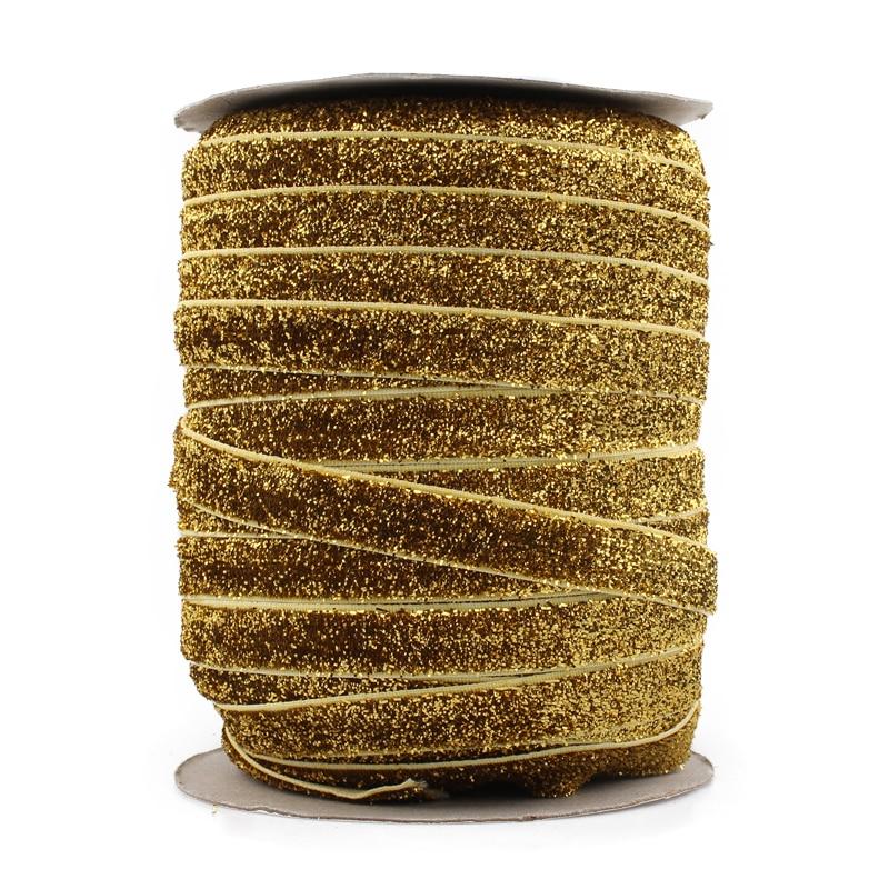"Image 5 - Retail 15colors 1pc=50yards 3/8"" Elastic Glitter Velvet Ribbon Ornaments Metallic Elastic Band for Kids Girls Hair Accessoriesribbon hair bandribbon printband head -"