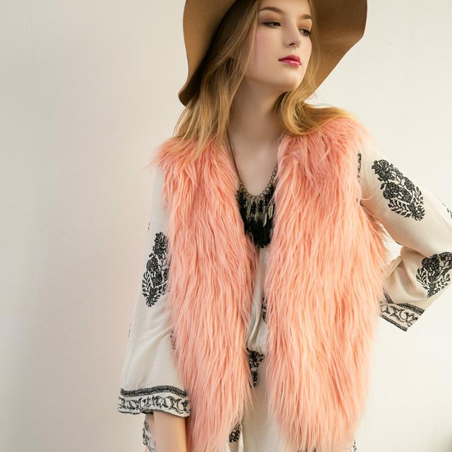 2016 velocidad de vender a través de el otoño y el invierno de las mujeres del comercio exterior chaleco de lana chaleco de piel de imitación de piel floja chaleco