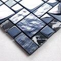 Azul preto cristais chapeamento HMGM1141 para apoio de malha de mosaico de vidro do banheiro da telha de mosaico de parede do banheiro piso de azulejos da cozinha backsplash