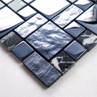 Blue black crystals plating glass mosaic bathroom tile mosaic HMGM1141 for mesh backing bathroom wall floor kitchen backsplash
