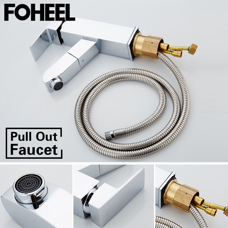 FOHEEL Pull Out Bathroom Basin Sink Faucet Single Handle Hot and Cold Water 360 Degree Washbasin Mixer Pull Out Tap FaucetFOHEEL Pull Out Bathroom Basin Sink Faucet Single Handle Hot and Cold Water 360 Degree Washbasin Mixer Pull Out Tap Faucet