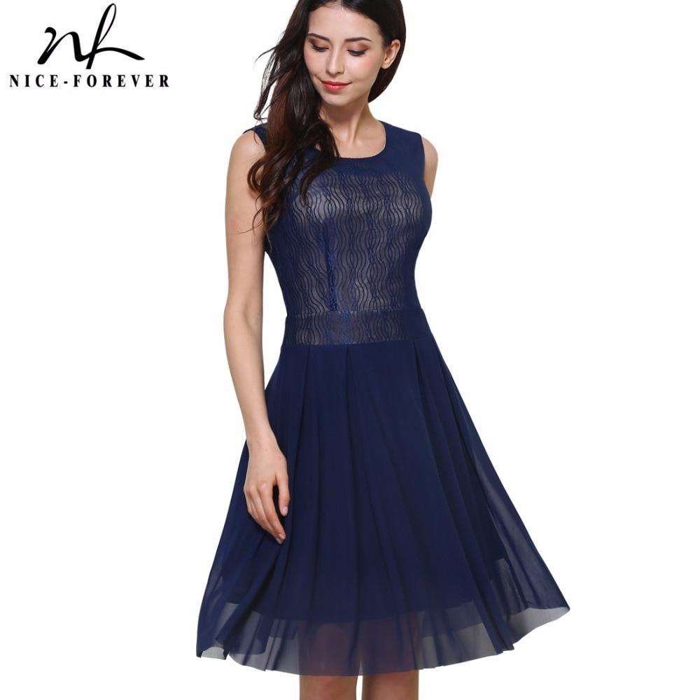 ea4f5989bca Nice-forever New Summer Vintage Elegant Mesh Lace Zipper O-Neck Dress Woman  Sleeveless