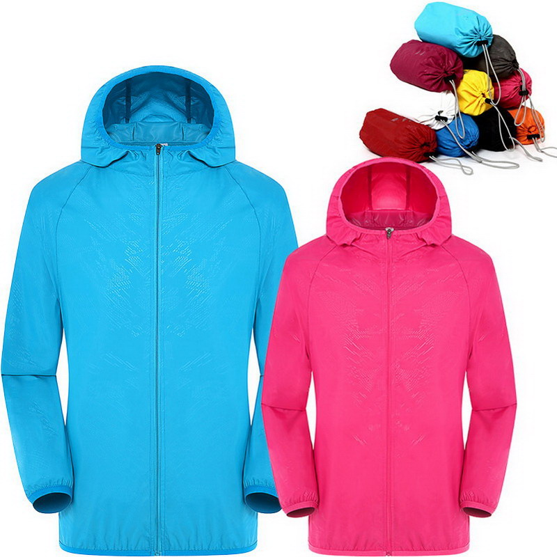 Hombres Mujeres rápido seco senderismo chaqueta impermeable Sol y protección UV Abrigos deporte al aire libre piel Chaquetas verano otoño lluvia fina chaquetas