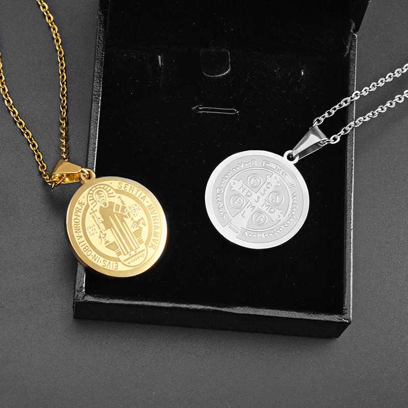 SOITIS Saint Benedict naszyjniki okrągły Medal złoty kolor stal nierdzewna wisiorki krzyżowe i łańcuszek katolicyzm biżuteria na prezent dla mężczyzny