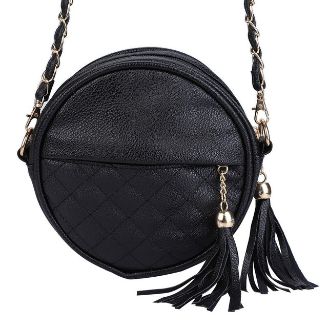 6 Candy Colors small women bags round plaid girls messenger bag brand leather crossbody bags tassel chain lady handbags