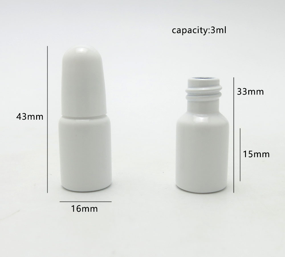 Купить с кэшбэком 3ml 3cc Small Mini Cute New Arrival Empty White Glass Bottle Brush cap 1/10 oz Nail Polish Bottles Arts Crafts 50pcs