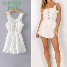 Jumpsuit women White Embroidery Romper Women Spaghetti Strap Overalls Ruffles Sleeveless Playsuit 2019 Elegant Jumpsuits