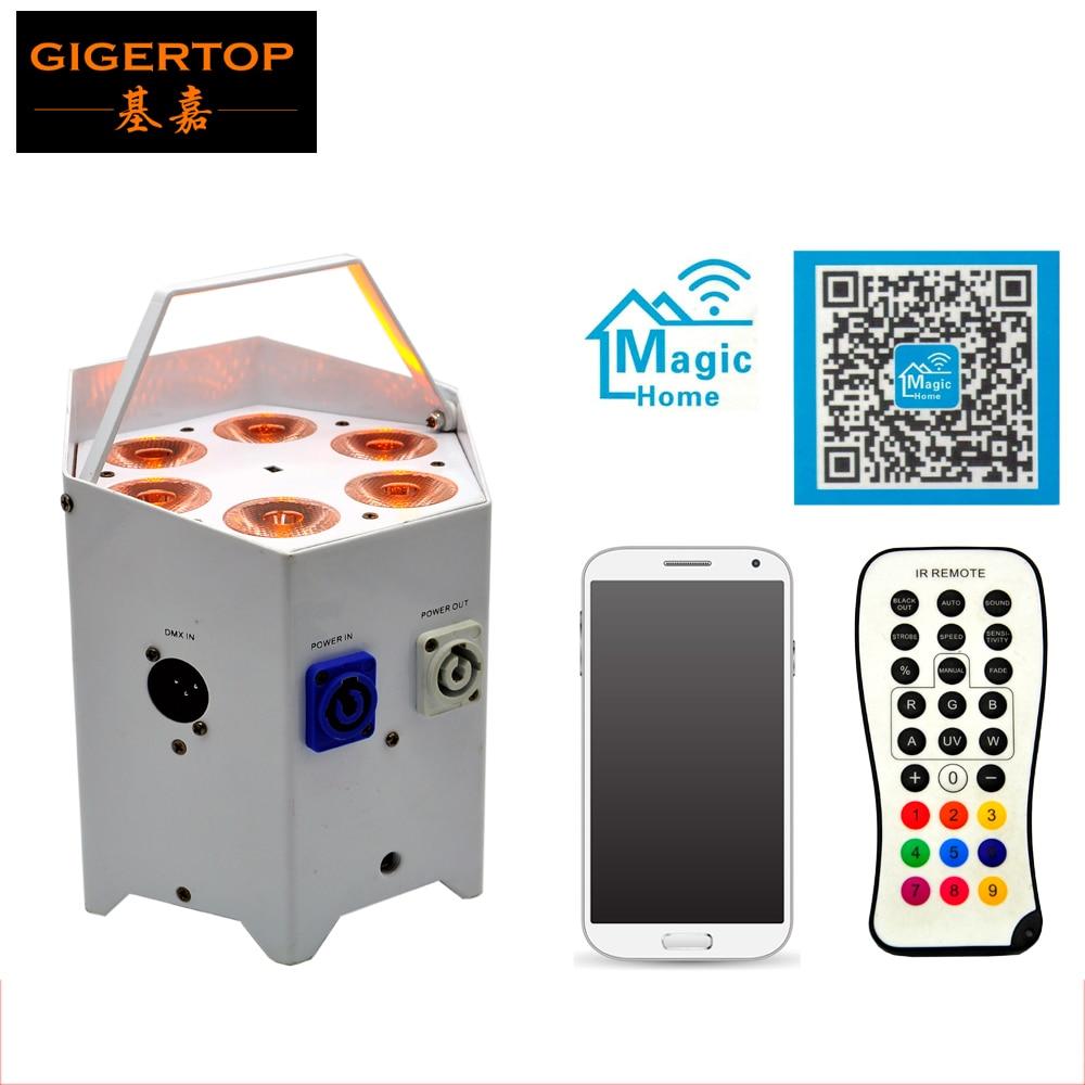 TIPTOP Stage Light 4x5W 5IN1 Battery Wireless Led Par Light Hexagon Shape White Black Color Case