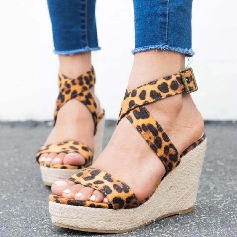 Cuñas Mujer Sandalias Gladiador Leopardo De Para C3jlaq4r5 CdBxoe