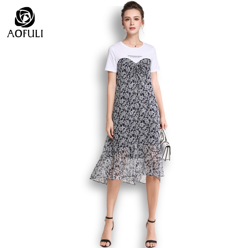 AOFULI Plus Size Female Sweetheart Patchwork Dress Summer Short Sleeve Floral Print Dress Mid calf Length
