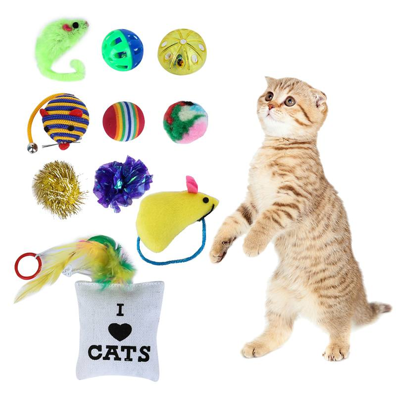 Kitten Value Cute Pet Toys Packs Mouse Ball Socks Toys-For-Cats 10/14 Variety Small Mini Playing Mouse Toys Gift for Cats Dogs
