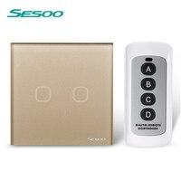 EU UK Standard SESOO 2 Gang 1 Way Remote Control Switch Black Crystal Glass Remote Wall