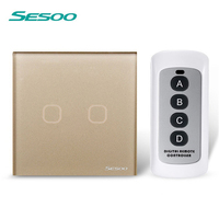 EU UK Standard SESOO 2 Gang 1 Way Remote Control Switch Black Crystal Glass Remote Wall