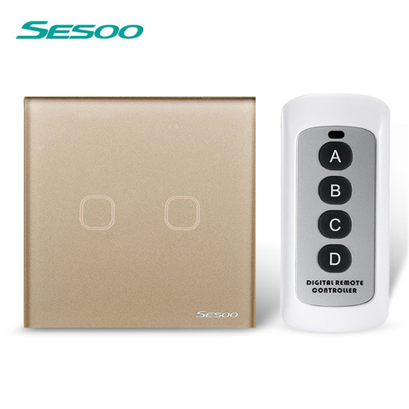 EU/UK Standard SESOO 2 Gang 1 Way Remote Control Switch ,Black Crystal Glass,Remote Wall Touch Switch+LED Blue Indicator eu uk standard sesoo remote control switch 3 gang 1 way crystal glass switch panel wall light touch switch led blue indicator