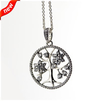 Compatible With Pandora Jewelry 100 925 Sterling Silver Jewelry Family Tree Necklace With Cz Necklace DIY