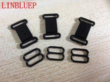 c6186ce93 100 conjuntos de Plástico Acessórios de Hardware Fita Ajustável Preto Fecho    Ganchos Olho Conjunto Arco Prendedor de Gravata Fe.