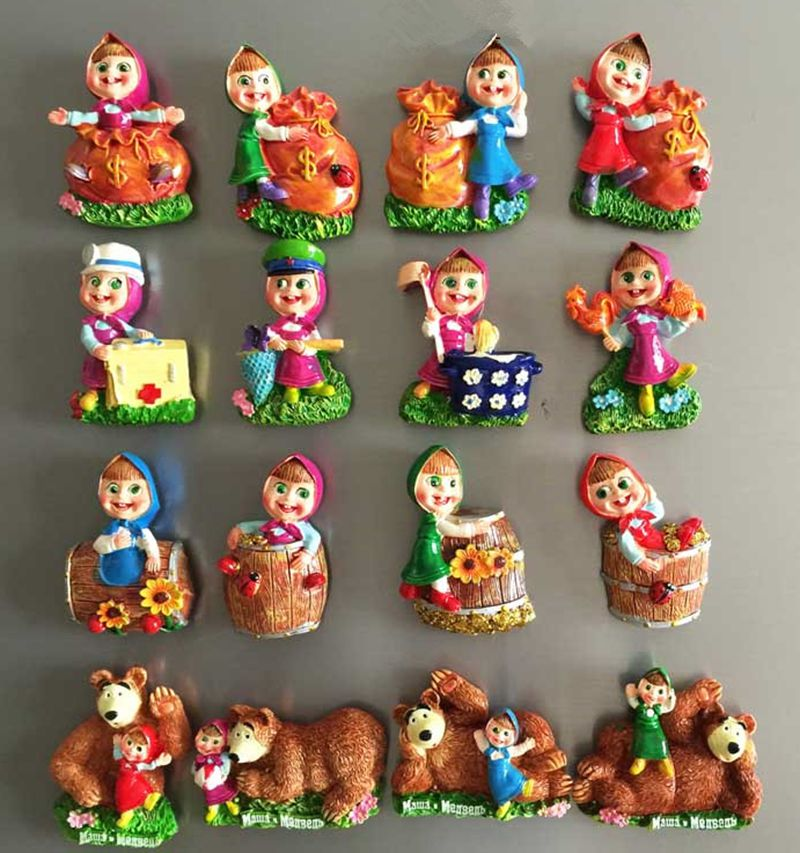 Martha And Bear Story 3D Fridge Magnets Russian Travel Souvenirs Refrigerator Magnet Home Decortion Magnetic Stickers