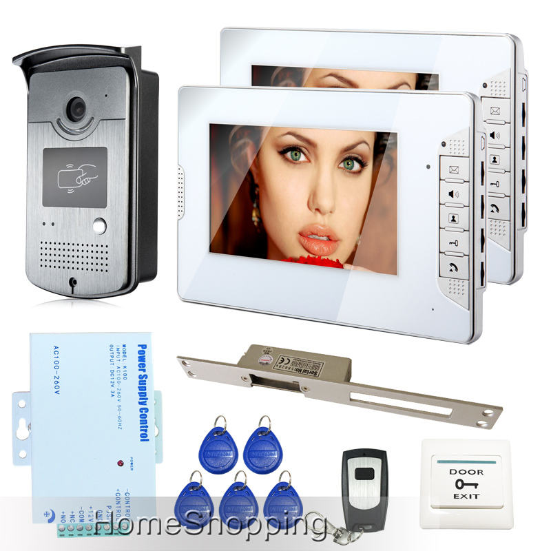 FREE SHIPPING 7 inch Video Intercom Door Phone System 2 White Monitors 1 RFID Access Reader Camera Electric Strike Lock In Stock free shipping brand new home 7 inch video intercom door phone system 2 monitors rfid camera long 250mm strike lock in stock