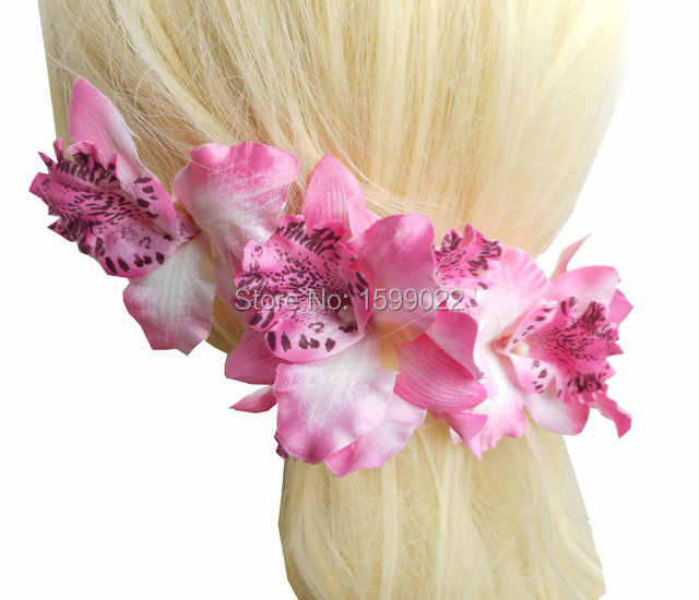 3 Pcs/lot Pantai Hawaii Anggrek Cymbidium Rambut Aksesoris Bunga Pengiring Pengantin Ungu Wanita Hairwear Klip Bros Pin Kepala Potongan