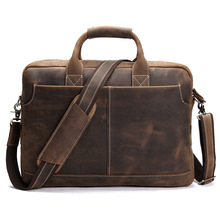NEWEEKEND Retro Casual Leather Crazy Horse Multi-Pocket 15.6 Inch Cowhide Handbag Crossbody Laptop Briefcase Bag for Man LS-0179