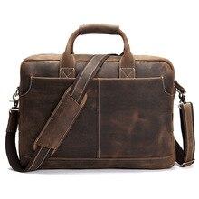 Retro Genuine Leather Crazy Horse 15.6 Inch Cowhide Handbag Crossbody Shoulder Laptop Briefcase Portfolio Bag for Man LS-0179