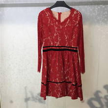 Red Lace Dress Women Elegant Long Sleeve Dresses Casual 2019 New A-Line Ladies Vestidos