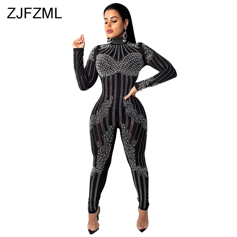 Beaded Embellished Sexy Rompers Womens Jumpsuit Glitter Rhinestones Long Sleeve Bodycon Overall Casual Turtleneck Party Bodysuit