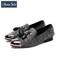 Christia Bella British Style Men Party Wedding Tassel Loafers Suede Rivet Men Dress Shoes Plus Size