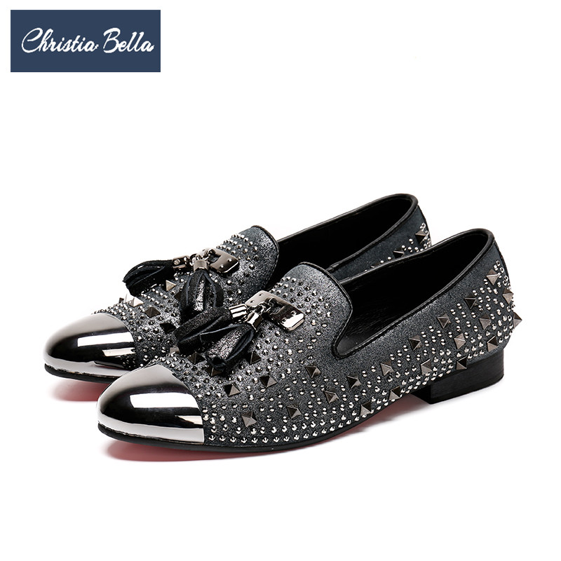 Christia Bella British Style Men Party Wedding Tassel Loafers Suede Rivet Men Dress Shoes Plus Size Smoking Slippers Male Flats ch kwok men loafers fashion suede wedding dress shoes party banquet italian smoking slippers mens flats slip on plus size 12