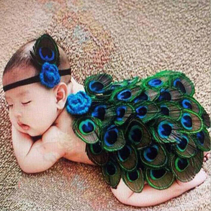 Newborn Photography Props Peacock Feather Baby Headband Set Photography Babies Accessories Costume Headbands Baby Photo Props