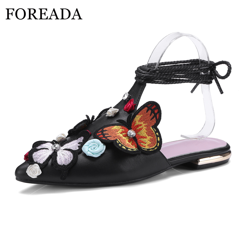 FOREADA Genuine Leather Women Flats Shoes 2018 Summer Mules Butterfly Flower Casual Shoes Lace Up Black Pointed Toe Flats Pink foreada genuine leather shoes women flats round toe lace up oxfords shoes real leather casual boat shoes brown pink size 34 40