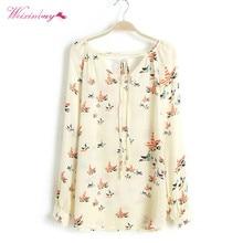 New Style Summer Women Fashion Chiffon Top Blouse Long Sleeve Top Print Elegant Loose Shirt Women Fashion V-neck Tops Blusa