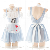 Japanese Anime Alice Sexy Lolita Perspective Backless Set Cosplay Maid Blue White Uniform Dress Female Party Underwear Set |
