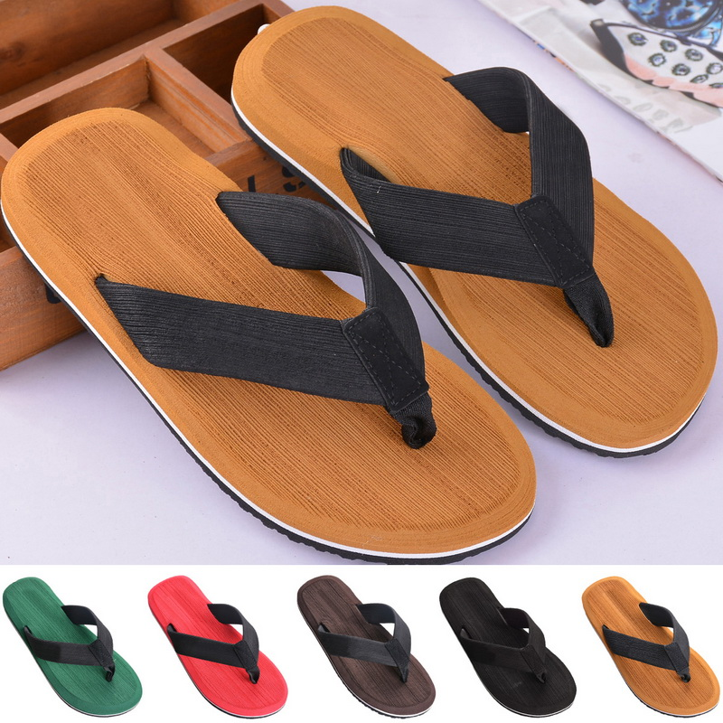 SHUJIN Drop Shipping 2019 Men Outside Beach Slippers Thick Sole Comfortable Flip Flops Waterproof Non Slip Home Floor Shoe(China)