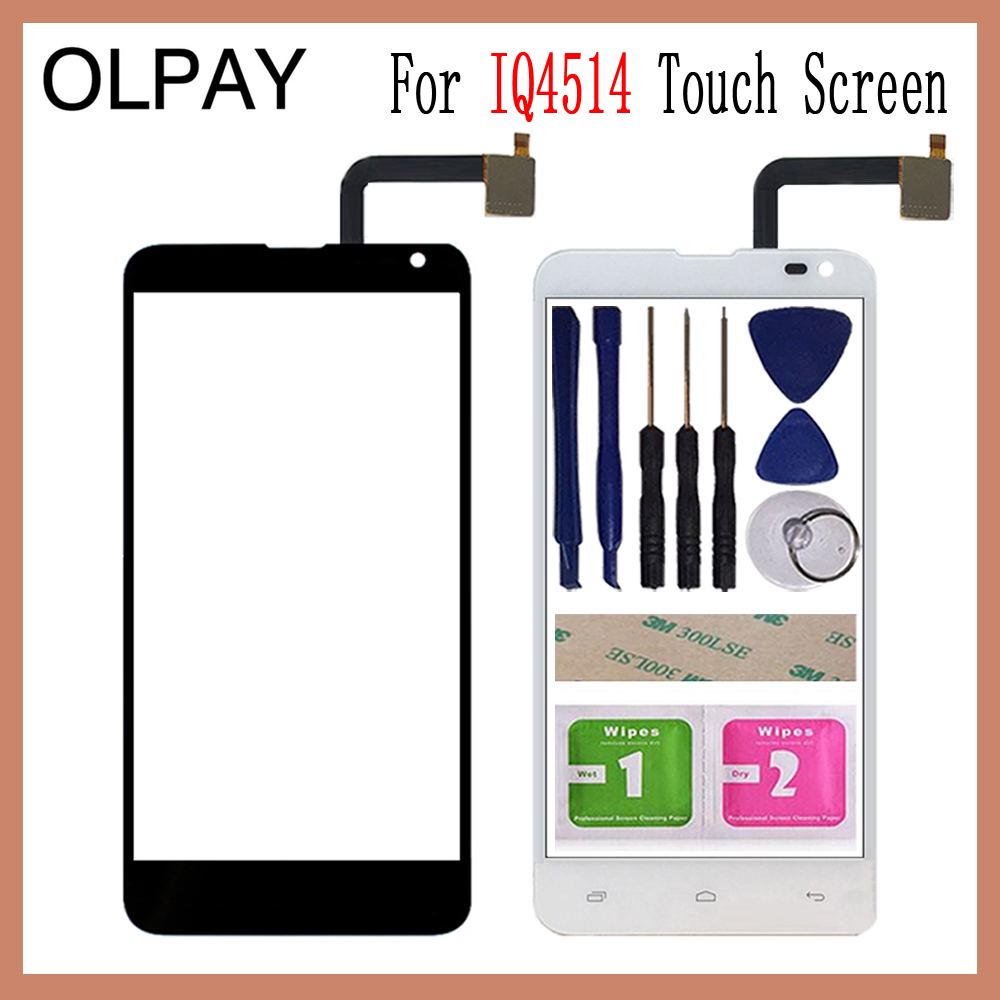 OLPAY 5.0'' Touch Glass Panel For Fly IQ4514 IQ 4514 Touch Screen Digitizer Glass Sensor Tools Free Adhesive+Clear Wipes