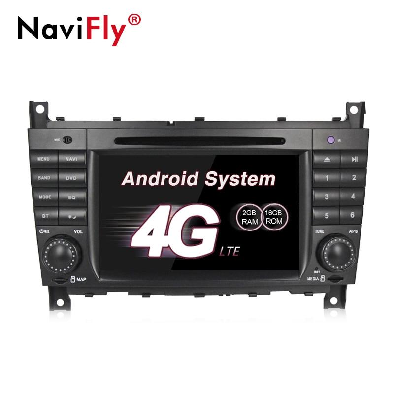 Radio gps dvd de voiture NaviFly 4G LTE 2G RAM Android 7.1 pour Mercedes/Benz W203 W209 lecteur multimédia de voiture autoradio unité de tête