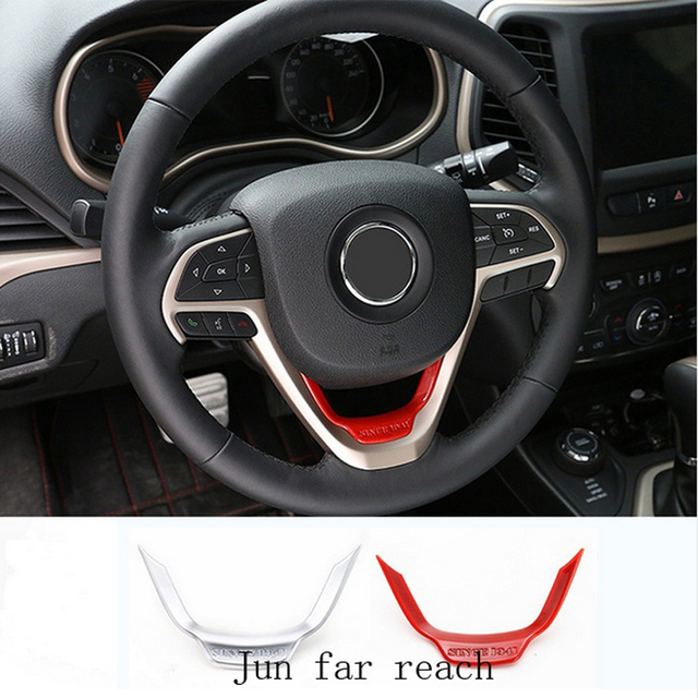 Car Interior Accessories Red/Matt ABS Steering Wheel Trim For Jeep Grand  Cherokee 2014