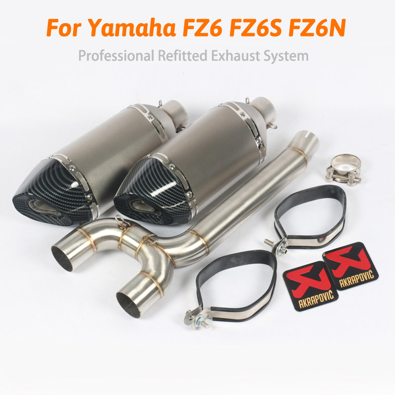 FZ6S FZ6N Motorcycle Exhaust Muffler pipe Mid Pipe Slip on For akrapovic Yamaha FZ-6N FZ-6S FZ6 Motorcycle pipe exhaust motorcycle aluminum cooler radiator for yamaha fz6 fz6n fz6 n fz6s 2006 2007 2008 2009 2010