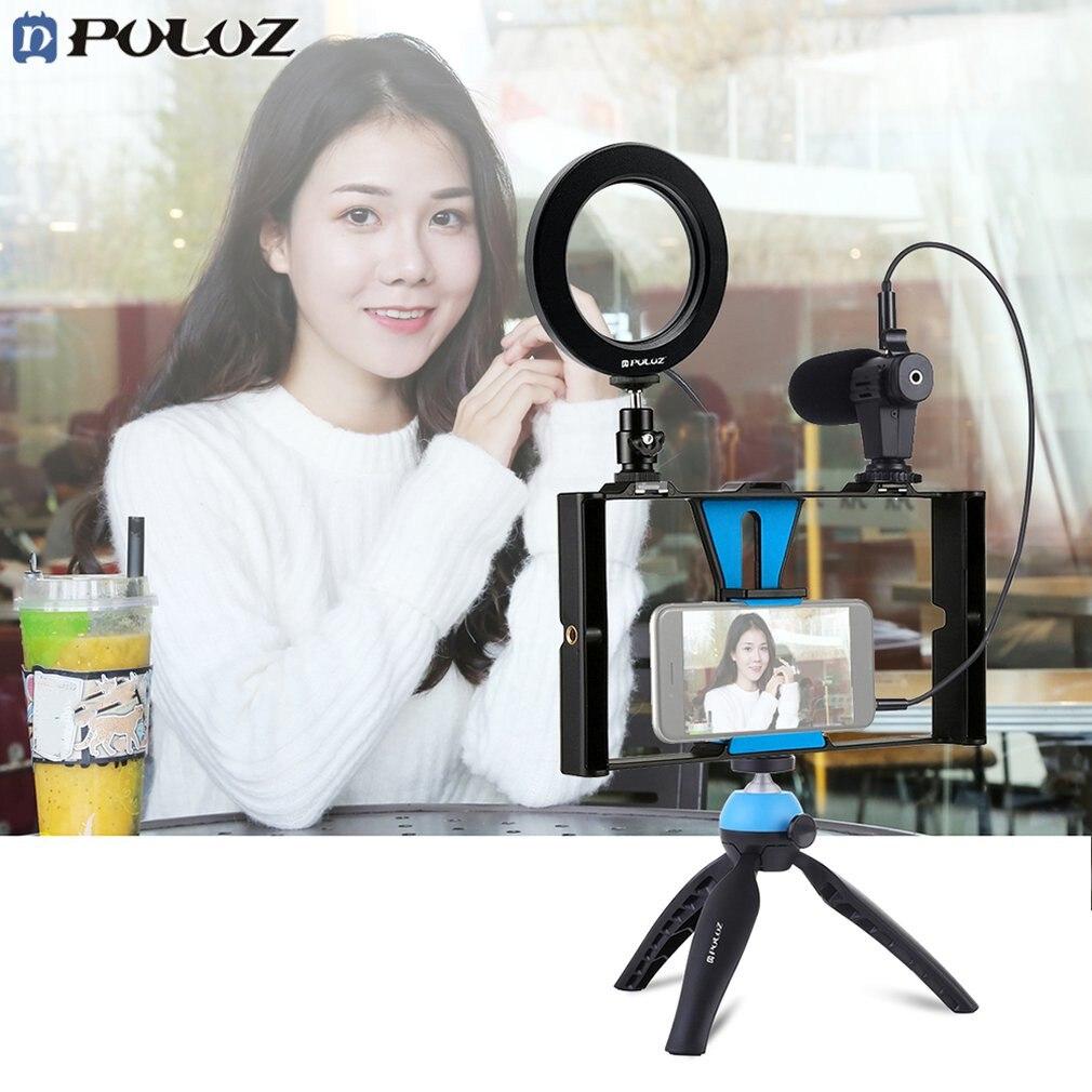 PULUZ vlog support de poche en direct plate-forme de Smartphone + Kits de lampe LED pour selfies d'anneau de 4.6 pouces + support de trépied + tête de trépied de chaussure froide