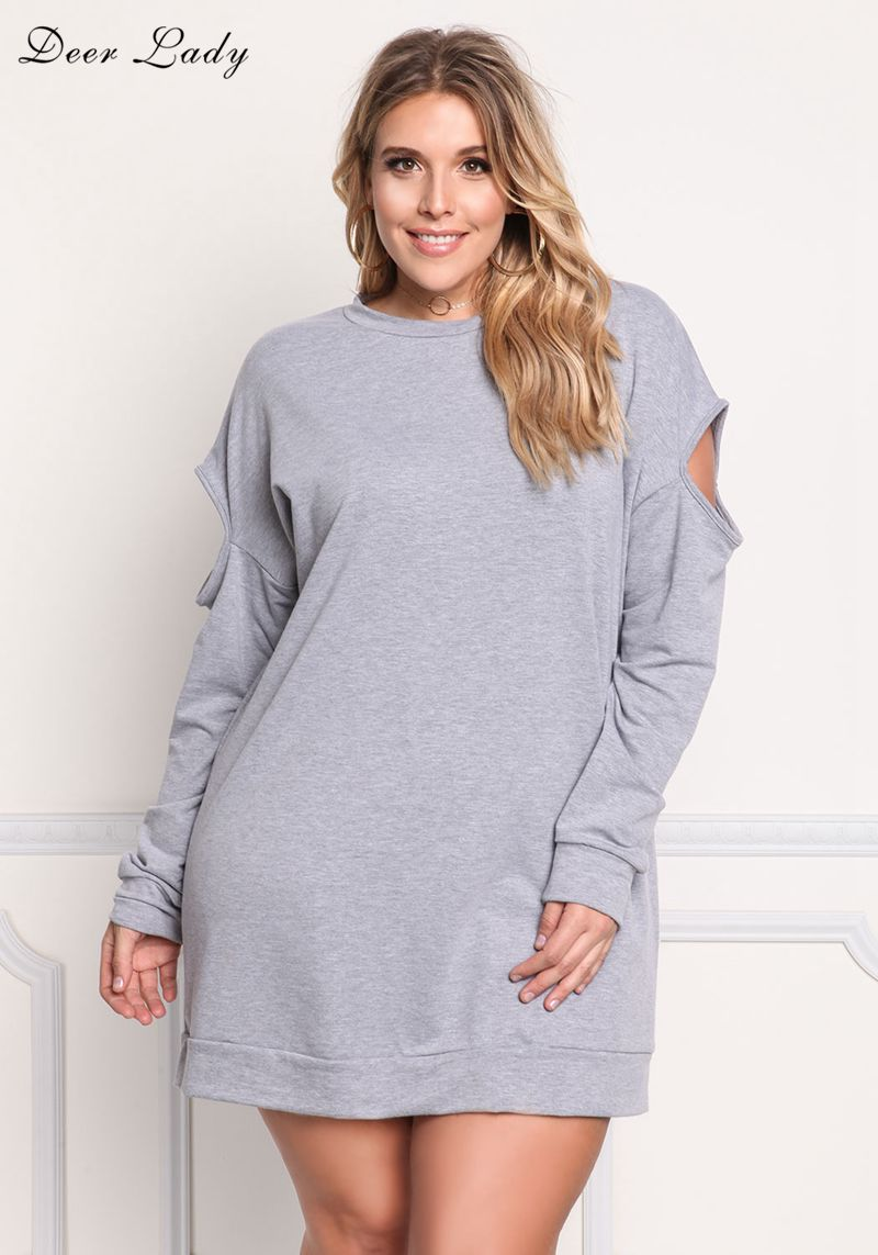 Deer Lady Cotton T Shirt Dress Summer 2017 Grey Long Sleeve T Shirt Women Over Size Mini Dress Sexy Cut Out Club Dress 3XL