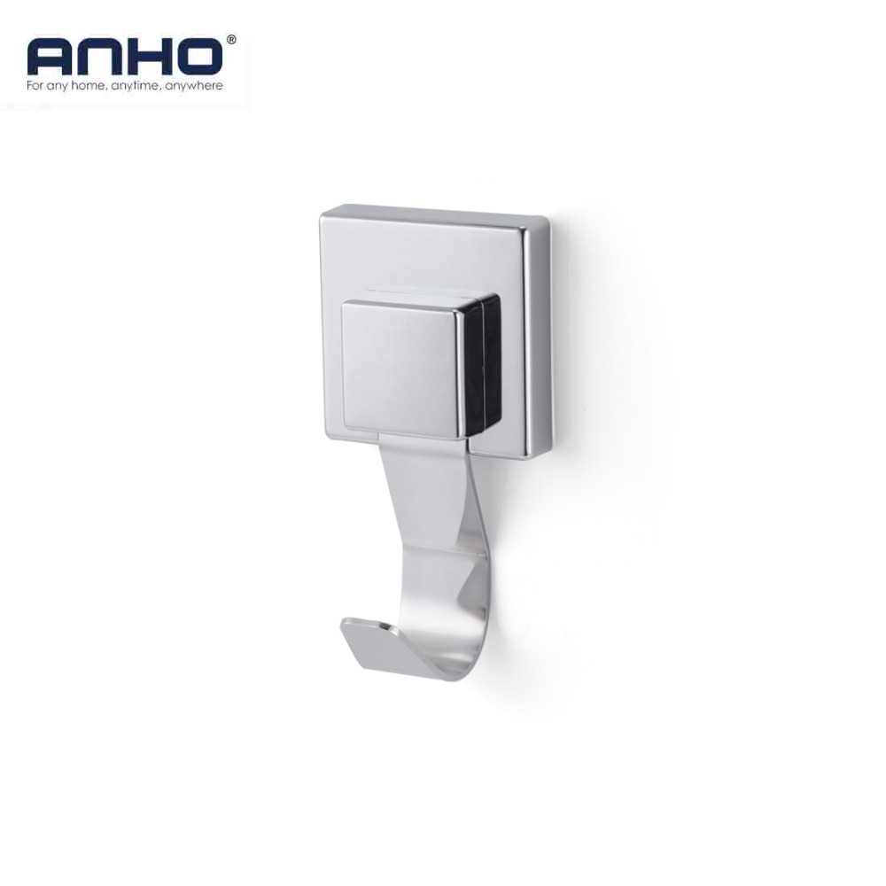 Sucker Hook Stainless Steel Bathroom Removable Vacuum Double Hook Kitchen Wall Strong Hanger Towel Bath Ball Square Silver beili hqs g105830 handy suction cup pc stainless steel hook hanger white silver