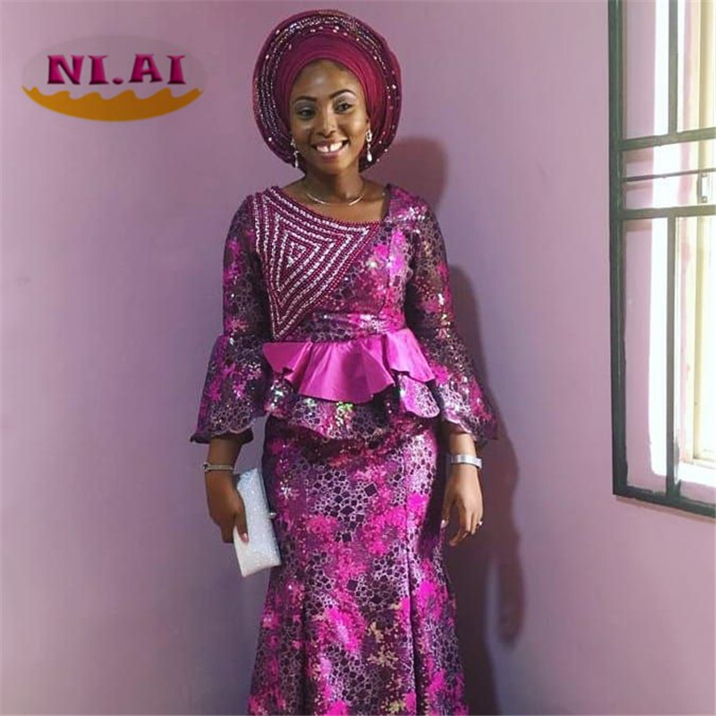 2019 High Quality African Lace Fabric Organza French Net Embroidery Sequins Tulle Lace Fabric For Nigerian