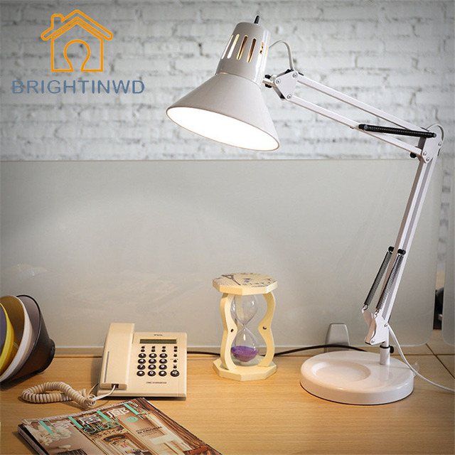 Functional long arm folding clip led study book desk lamp dormitory work office dormitory bedroom night