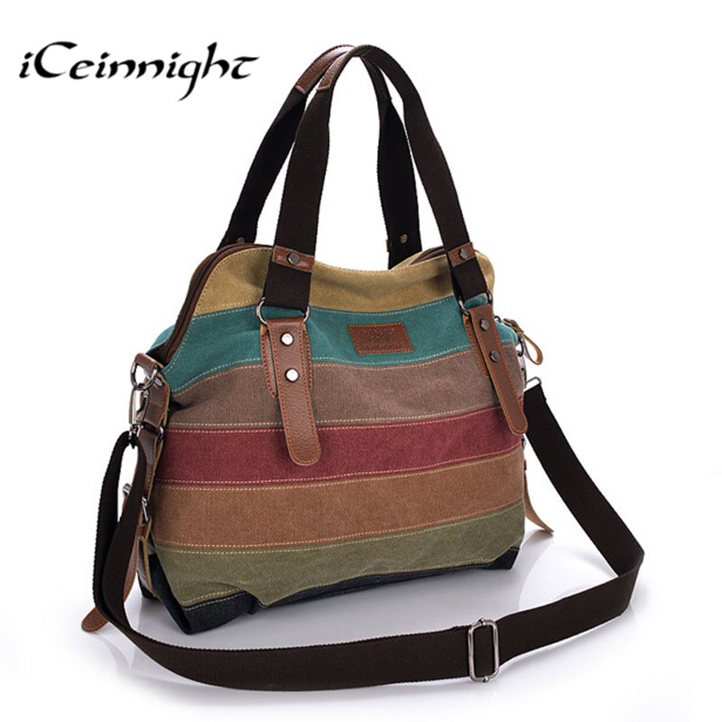 iCeinnight Canvas Striped Women Messenger Bags High Quality Casual Tote Big Handbag School Shoulder Bag with long belt bolsas new woman shoulder bags cute canvas women big bags literature and art cartoon girls small fresh bags casual tote