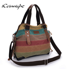 iCeinnight Canvas Striped Women Messenger Bags High Quality Casual Tote Big Handbag School Shoulder Bag with long belt bolsas